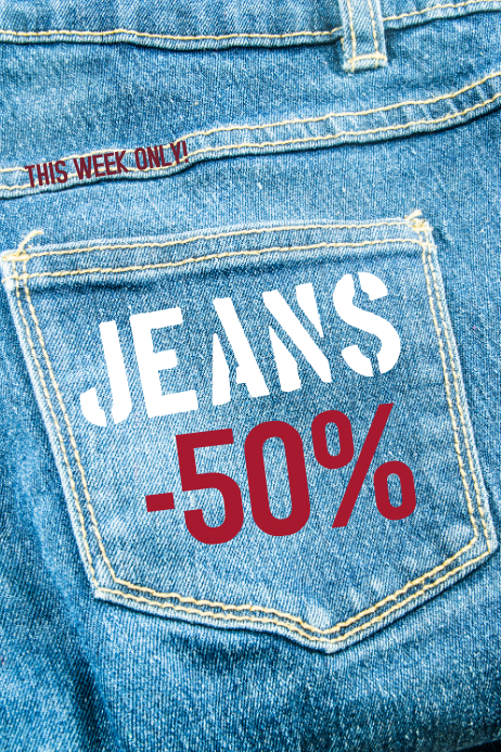 Jeans Retail Sale Poster Template