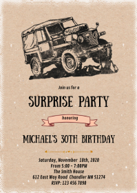 Jeep birthday retirement invitation