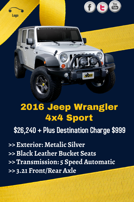 Jeep Wrangler Sale Template  Postermywall