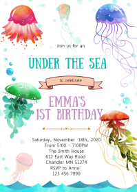 Jellyfish theme party invitation