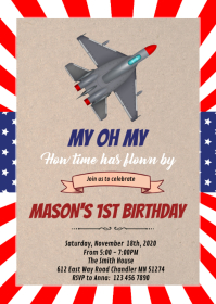Jet airplane theme party invitation A6 template