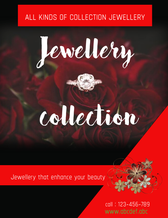 jewellery designs flyer,small business flyer Pamflet (VSA Brief) template