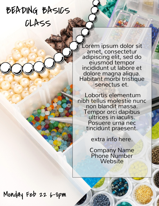 jewelry making beading class flyer template