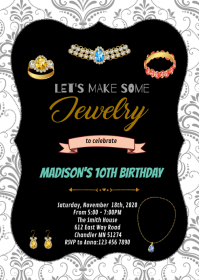 Jewelry making birthday party invitation A6 template