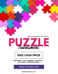 Jigsaw puzzle tournament flyer template ใบปลิว (US Letter)