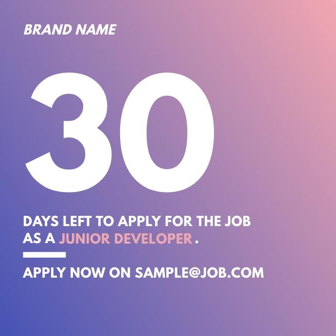 Job Announcement Ad Instagram Post Iphosti le-Instagram template