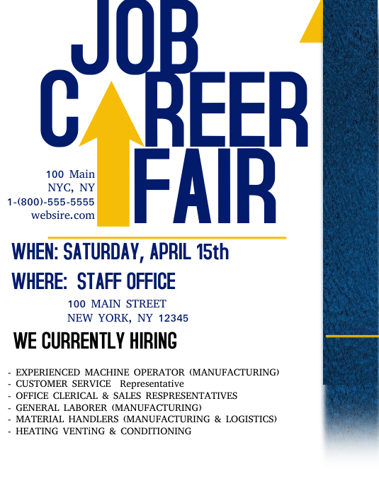 Job career fair template postermywall for Job fair brochure template