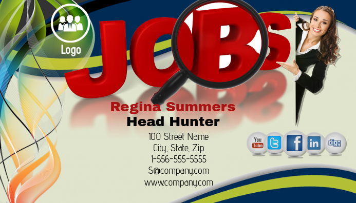 job head hunter business card template postermywall