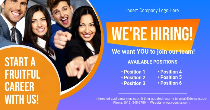 Job Hiring Ad Template delt Facebook-billede