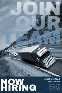 job hiring CDL truck driver Flyer Template