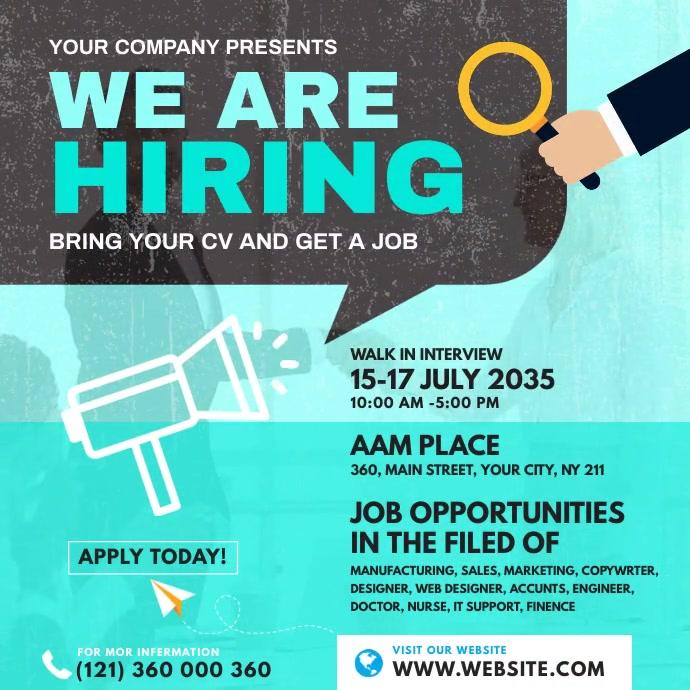 Job Vacancy Ads Instagram Post template