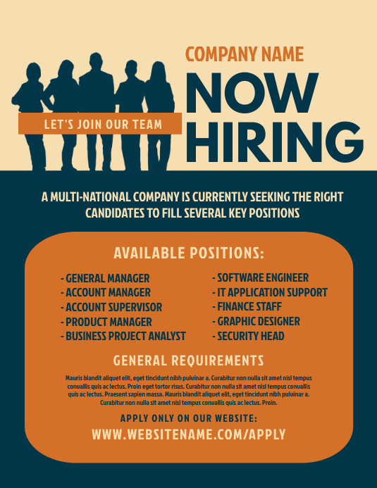 Job Vacancy Flyer Løbeseddel (US Letter) template