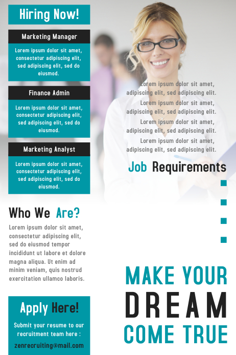 Job vacancy / hiring poster and flyer design template