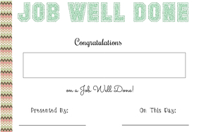 Job Well Done Certificate
