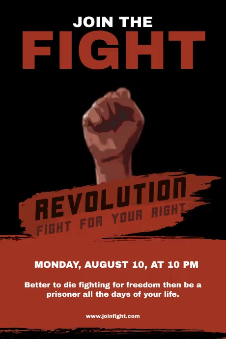 Join The Fight Revolution Flyer Poster template