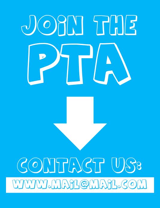 Join The PTA Parent Teacher Association Flyer