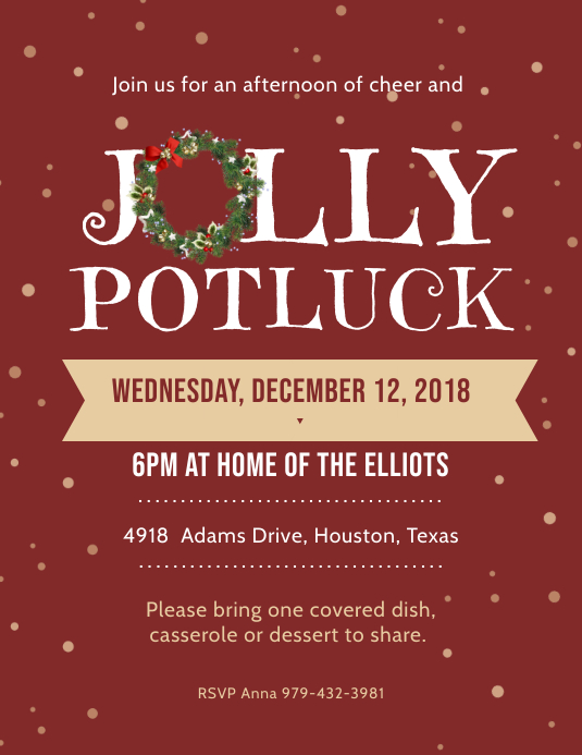 Jolly Potluck Party Invitation Flyer Template Postermywall