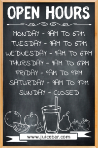 Juice Bar Open Hours Poster Template 海报