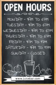 Juice Bar Open Hours Poster Template