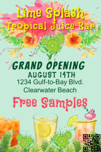 Juice Bar Tropical Grand Opening Poster template