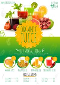 Juice Bar Menu Template A4