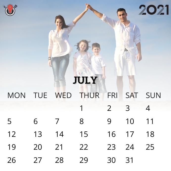 July 2021 calendar Instagram na Post template