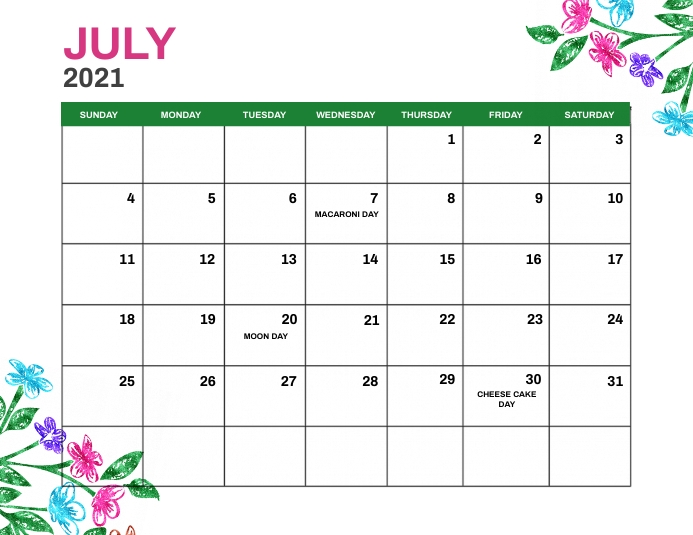 July 2021 Monthly Events Calendar Template Flyer (Letter pang-US)