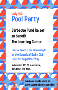July 4th red white and blue party event poster
