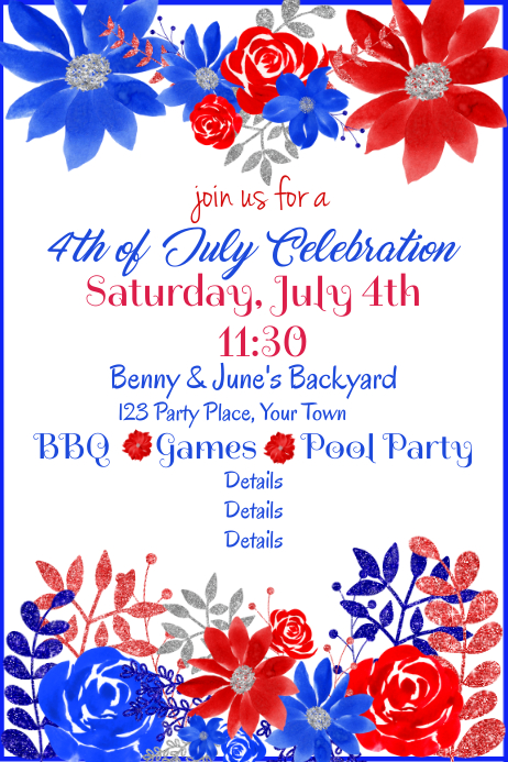 July 4th Red White Blue Floral Party Invite Poster template