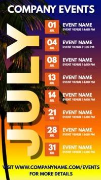July Events Schedule Video Template Ecrã digital (9:16)