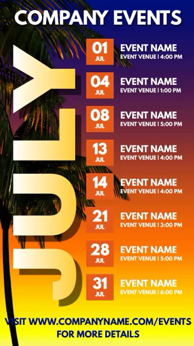 July Events Schedule Video Template งานแสดงผลงานแบบดิจิทัล (9:16)