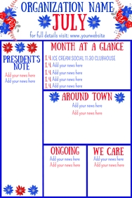 July Newsletter Red White Blue Flowers