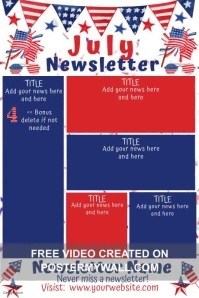 July Patriotic Video Newsletter Poster template