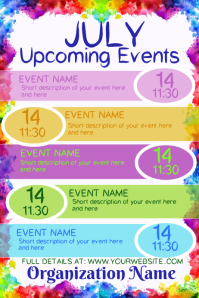 July Upcoming Events Calendar