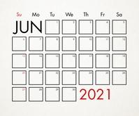 June 2021 Calendar Template Middelgrote rechthoek