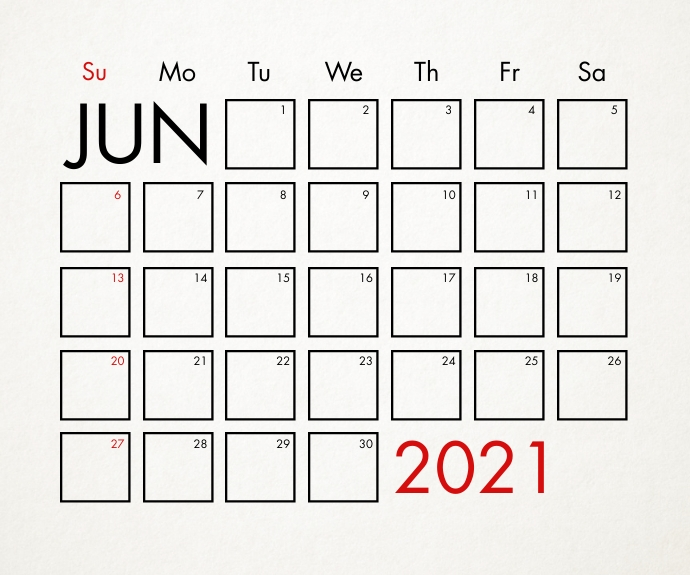 June 2021 Calendar Template Medium Rectangle