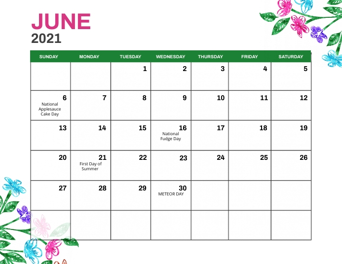 June 2021 Monthly Events Calendar Template Flyer (Letter pang-US)