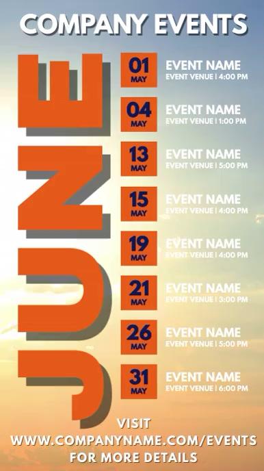 June Events Schedule Calendar Template Digital Display (9:16)