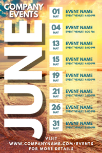 June Events Schedule Calendar Template Poster