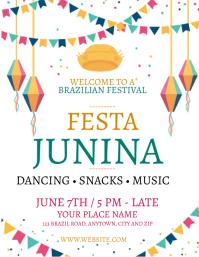 JUNE Festival FESTA JUNINA Flyer Template Ulotka (US Letter)