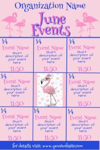 June Flamingo Events Calendar Iphosta template