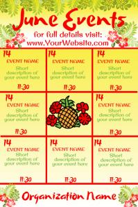 June Hawaiian Theme Events Calendar