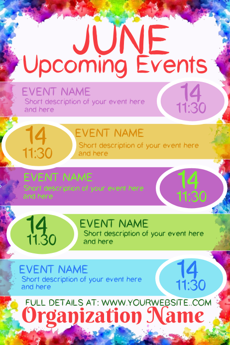 June Upcoming Events Poster template