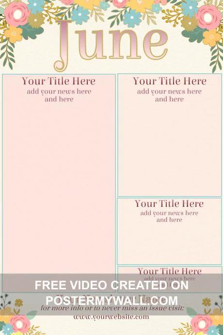 June Vintage Newsletter โปสเตอร์ template