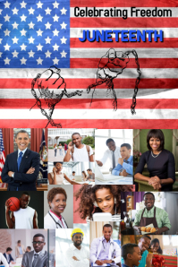 Juneteenth/black history month/freedom แบนเนอร์ 4' × 6' template