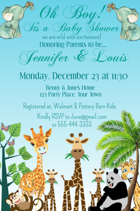 Jungle Theme; Personalized Baby Shower Invitations