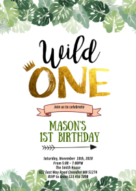 Jungle wild one birthday party invitation