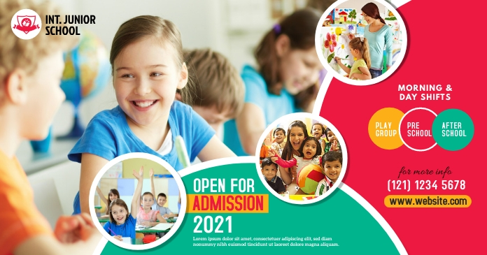 Junior School Admission Open Advert Gambar Bersama Facebook template