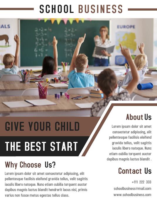 Junior School Education Flyer Template Design