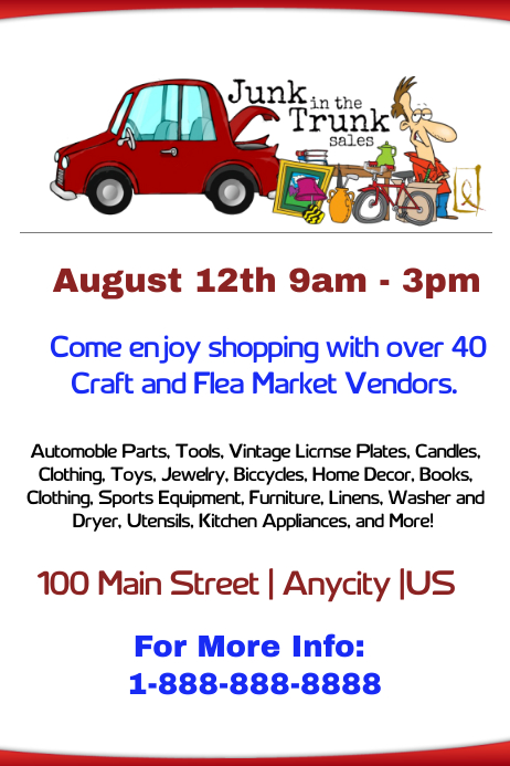 junk in the truck and flea market flyer template postermywall